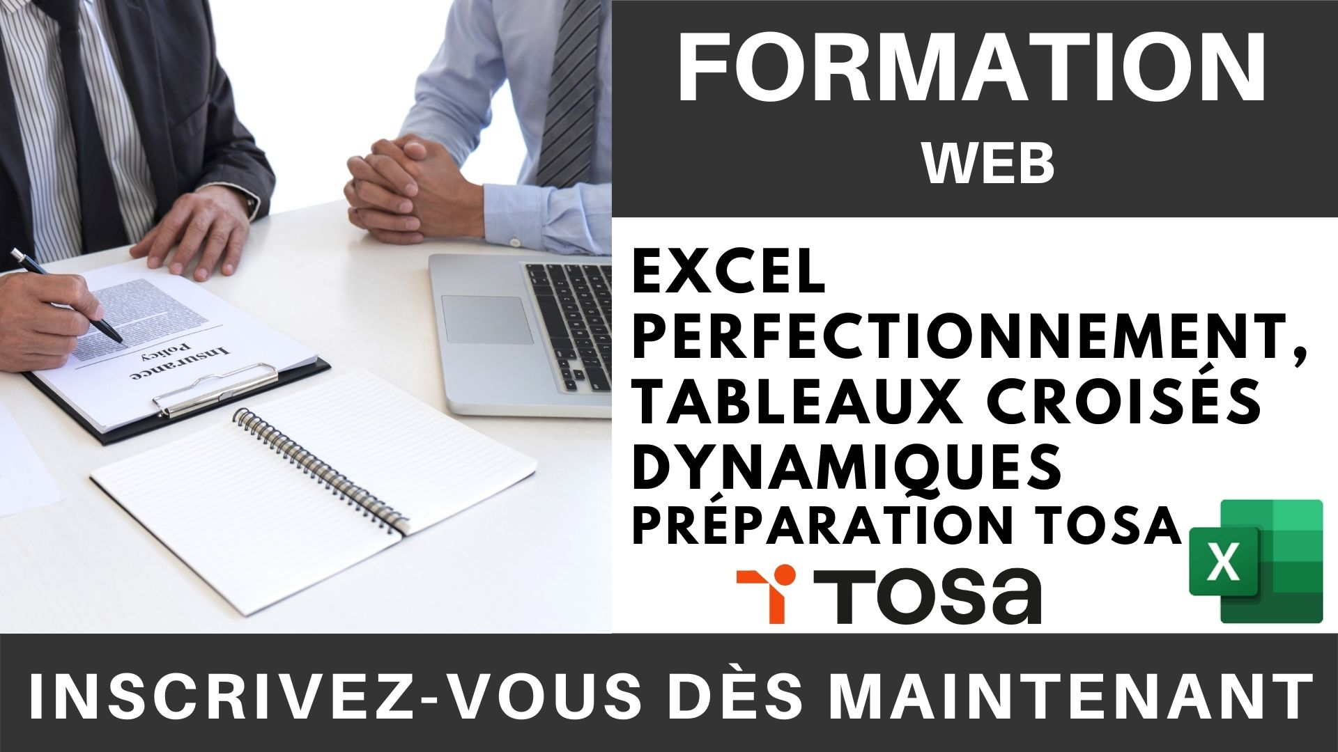 Formation WEB - Excel Perfectionnement, Tableaux croisés dynamiques - Préparation TOSA