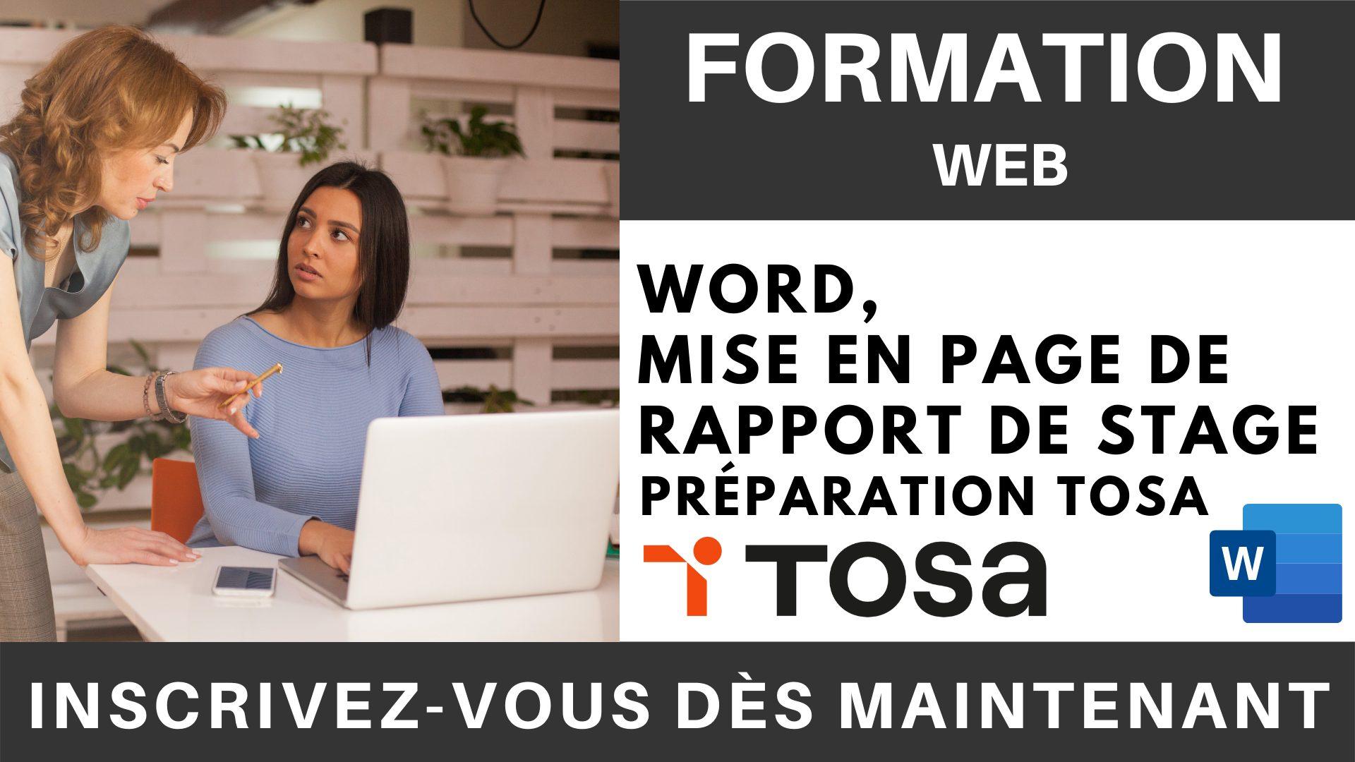 Formation WEB - Word, Mise en page de Rapport de stage - Préparation TOSA