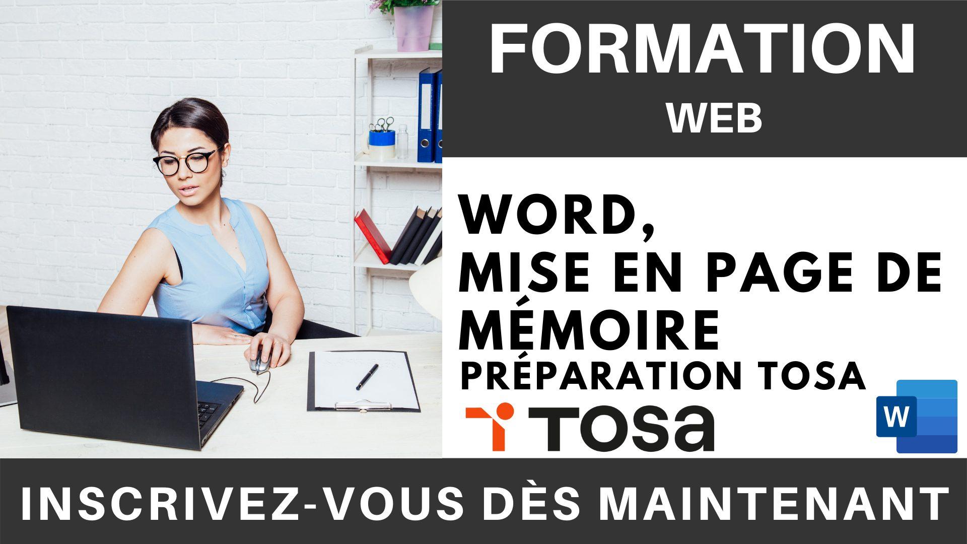 Formation web - Word, Mise en page de Mémoire - Préparation TOSA