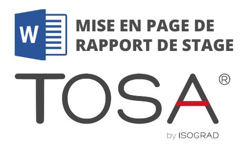 Formation Word Mise en page de rapport de stage Préparation TOSA